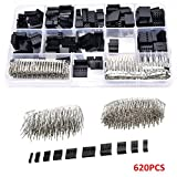 Soosee 620PCS 2.54mm Male Female Dupont Wire Jumper and Female(1Pin 2Pin 3Pin 4Pin 5Pin 6Pin 8pin) Header Connector Housing Assortment Kit & Plastic Box