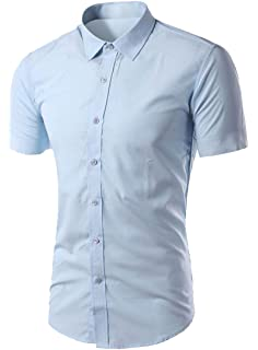 Jumaocio Mens Striped Slim Fit Dress Shirts Buttons Casual Short Sleeve