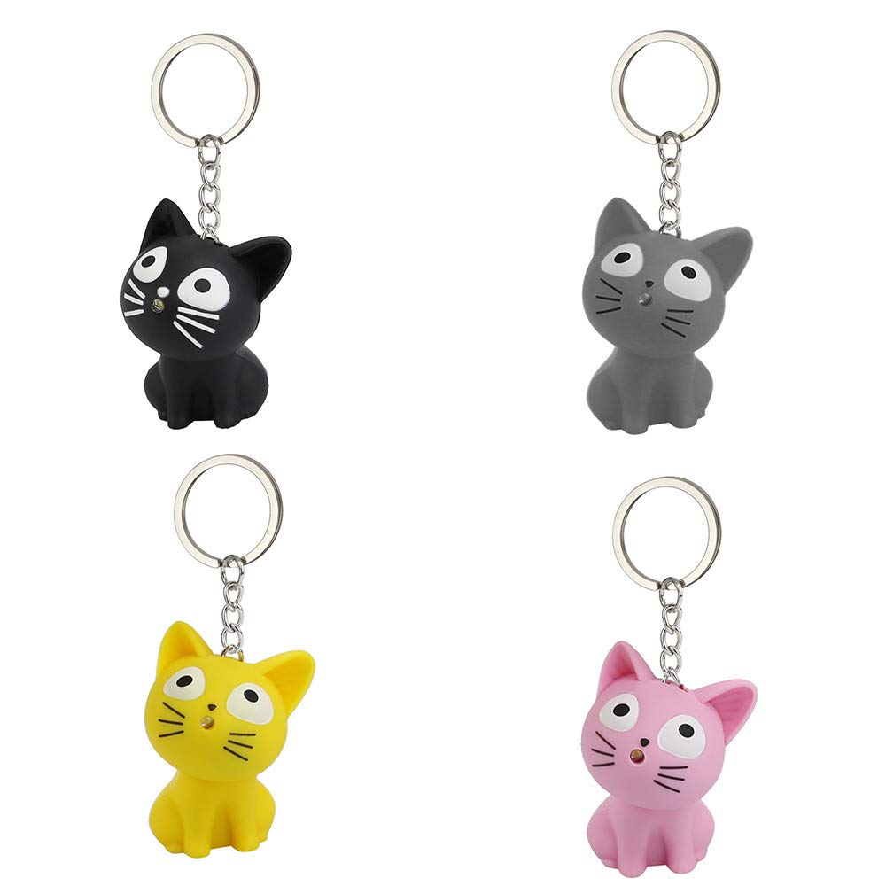 Aobiny Keychain, Cute Cat Keychain with LED Light and Sound Keyfob Kids Toy Gift (Black) by Aobiny (Image #3)