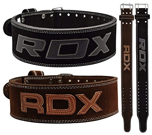 RDX Powerlifting Belt for Weight Lifting Gym Training - Double Prong Leather Belt 10mm Thick 4