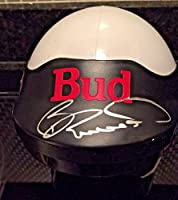 Bill Elliott Autographed Mini Helmet Budweiser Hall Of Fame. Signed - JSA Certified - Autographed NASCAR Helmets from Sports Memorabilia