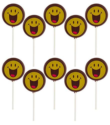 Smiley Face Lollipops - Smiley World Emoji Face Expressions Dark Chocolate Lollipops Sucker