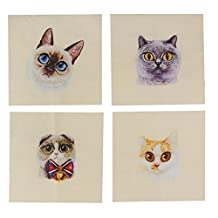 MagiDeal 4 Pieces 15x15cm Hand Dyed Cotton Linen Fabric Cats Prints Sewing DIY Patchwork Scrapbooking Bags DIY Quilting Crafts