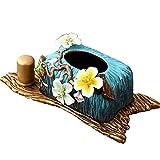 European Ceramic Tissue Box Living Room Toothpick Holder Retro Court Decoration Ornaments Handmade 401518cm (Color : Blue)
