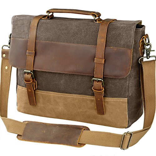 WOWBOX 15.6 Inch Messenger Bag for Mens Waxed Waterproof Canvas Genuine Leather Laptop Messenger Bags Men Business Briefcase Vintage Large Shoulder Bag School College Satchel (Coffee)