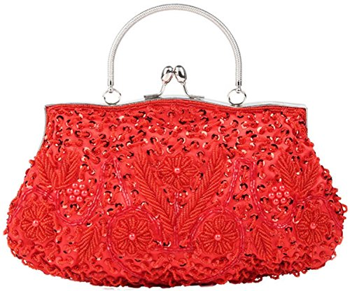 Bettyhome Women's Vintage Kiss Lock Beaded Sequin Flower Red Evening Clutch Large Wedding Purse (red)