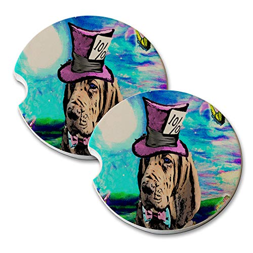 New Vibe Mad Hatter Blood Hound - Round Absorbent Natural Stone Car Coaster Set (Set of 2) Auto Drink Coasters