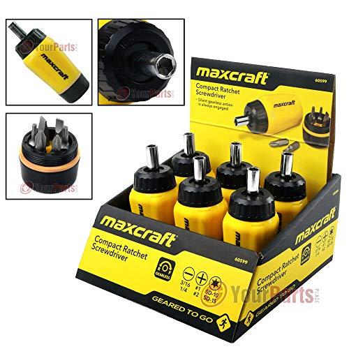 - 6Pk Maxcraft 60599 Gearless Stubby Ratchet Screwdriver 6 in 1 Bits Set Multi Bit U30426