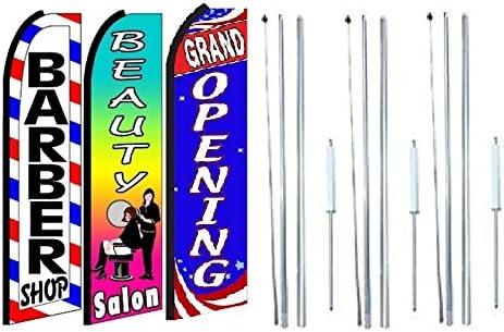 Flag Spike Beauty Salon Swooper Feather Flag 16ft Aluminum Advertising Kit Pole