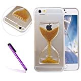 iPhone 6/6S Case, EMAXELER 3D Quicksand Brilliant Luxury Bling Small Pearl Hourglass Moving Hard Protective Case for Apple iPhone 6(2014 Release)/6S(2015 Release)--Golden