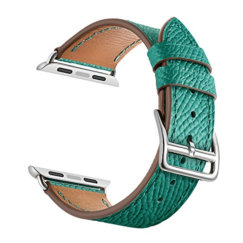LEUNGLIK Genuine Leather Watch Band Compatible for Apple Watch iWatch 1/2/3/4, 2019 Dressy Fancy Jewelry Men Adjustable Wristband Watch Strap 42mm/44mm with Sliver Stainless - Apples Picking Green