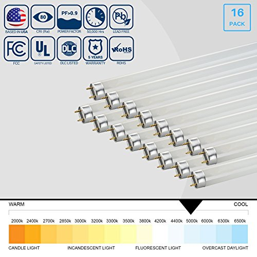 [16-Pack] ARCHIPELAGO LED T8, 4FT, 15W (32W Fluorescent Equivalent), 1800LM, 5000K, Works With Electronic Ballasts, UL-Listed, Lifespan: 50,000 Hours