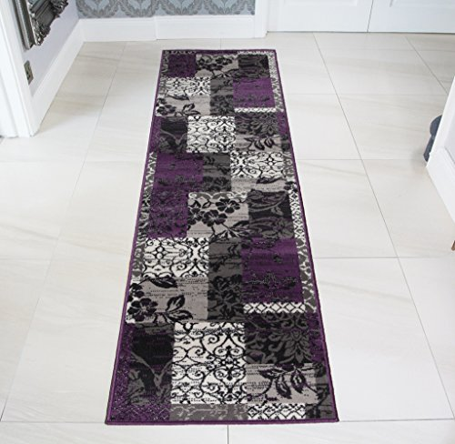 Milan Purple, Black & Gray Patchwork Area Rug 1568-H33-2' x 7'10