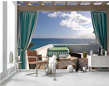 Yosot 3d Benutzerdefinierte Hintergrund Fototapete Vorhang Meer