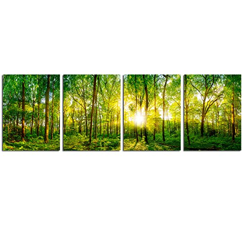 Live Art Decor- Forest Panorama Landscape Canvas Print Spring Sunrays Shining through Green Woods Picture Photography Multi Panel Wall Art for Office Decoration Home Living Room Wall Decor (Forest-2)