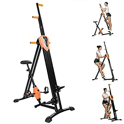 2-in-1 Folding Vertical Climber, Fitness Step Machines Exercise Bike for Body Trainer in Gym Home Office [US Stock]