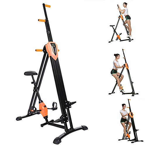 2-in-1 Folding Vertical Climber, Fitness Step Machines Exercise Bike for Body Trainer in Gym Home Office [US Stock] (Orange)