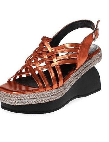 LFNLYX Zapatos de mujer-Tacón Cuña-Cuñas / Plataforma / Talón Descubierto-Sandalias-Exterior / Casual / Deporte-Nappa Leather-Amarillo / Plata Yellow