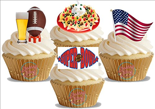 American Super Bowl Mix A- Fun Novelty Birthday PREMIUM STAND UP Edible Wafer Card Cake Toppers Decoration