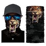 Glumes Face Mask Half Sun Dust Protection|Vivid 3D Animal Tube Mask Seamless|Durable Face Mask|Bandana Skeleton Face Shield|Motorcycle Fishing Hunting Cycling Halloween Party (C)