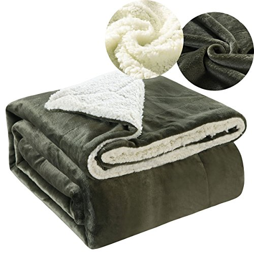 Ruikasi Sherpa Throw Blanket Microfiber Plush Dark Green Reversible Bed Blankets, Lightweight and Fluffy, All Seasons Blanket for Couch 80