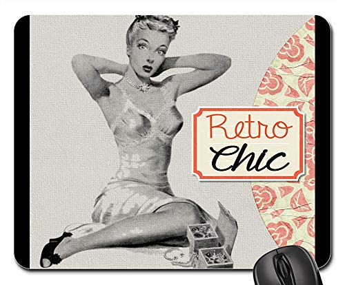 Mouse Pad - Retro Collage Girl Pin Up Sexy Orange Peach