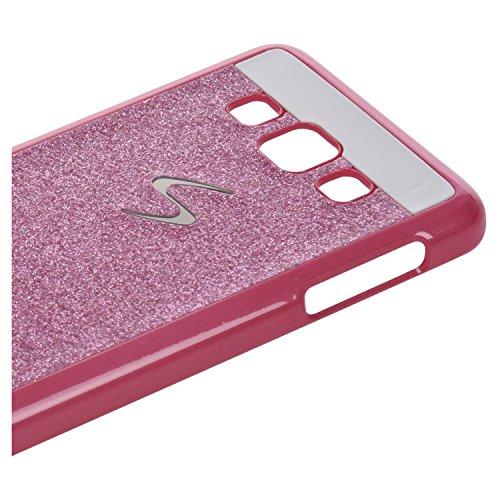 funda - SODIAL(R)1PC duro funda para Samsung Galaxy A3 funda caso protector caja de cristal Glitter telefono de la caja de luz carcasa Shinning Shell Ultraligero duro-Rosa Rosa