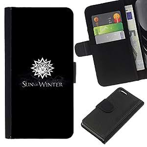 YiPhone /// Tirón de la caja Cartera de cuero con ranuras para tarjetas - Sol de invierno - Apple Iphone 5C