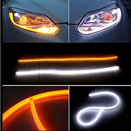 2Pcs 24inch Ultrafine LED Strip Tube Flexible Waterproof Daytime Running Light Suitable For Switchback Headlight LED Strip,Running Light,Flowing Turn Signal Light Ice Blue//Sequence Amber, 60cm