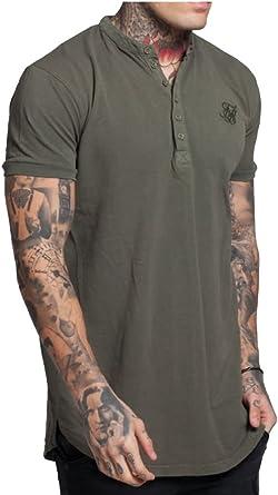 Caqui De SIK SILK Hombres Sin Cuello Polo Manga Corta Camiseta