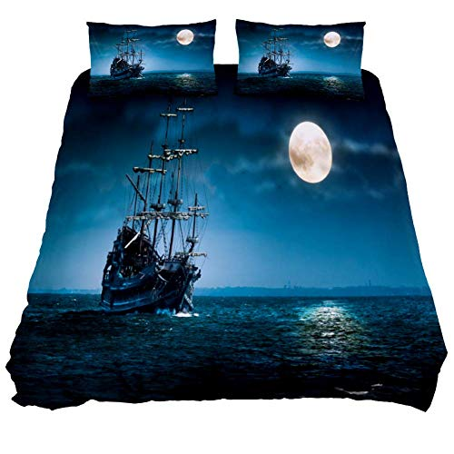 LOVIES Duvet Cover Full Duvet Cover Set Ghost Pirate Ship Sailing and Moon Hotel Bedding Sets Comforter Cover with Soft Lightweight Microfiber 1 Duvet Cover and 2 Pillow Shams