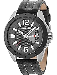 Mens Watch PITCHER PL.15240JSUB/02 Black Leather 47 mm Date Display. Police