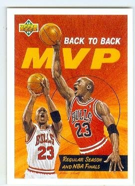 Michael Jordan basketball card (Chicago Bulls) 1992 Upper Deck #67 Back to Back MVP by Autograph Warehouse