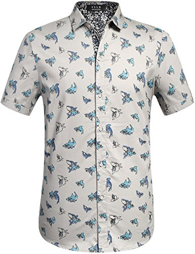 ff6df0bc SSLR Men's Sharks Casual Button Down Short Sleeve Cotton Shirt ...