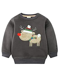 Mimiwinga Kids Santa Deer Pattern Sweatshirt Boys Solid Color Thick Fleece Pullover