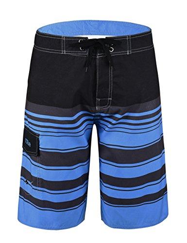 Nonwe Men's Tropical Stripe Beach Shorts Swim Trunks with Mesh Lining Blue Striped 34