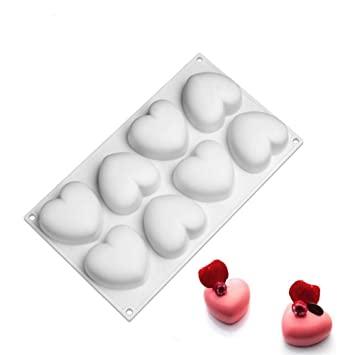 Molde de silicona con forma de corazón de 8 cavidades para tartas y postres, moldes para cupcakes y cupcakes: Amazon.es: Hogar