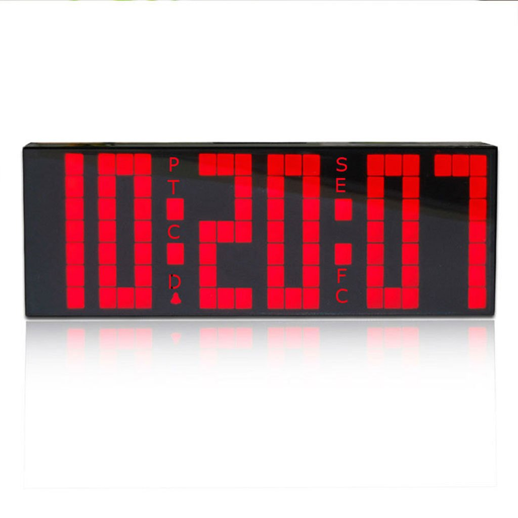 目覚まし時計は、デジタル時計の温度の日付の壁時計超大文字のリビングルームを導いた (Color : Red) B07D5Q6G1L Red Red