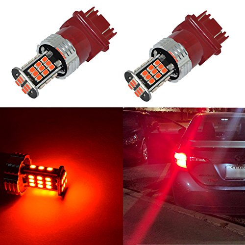 Alla Lighting Super Bright 3156 3157 Red LED Bulbs 1000 Lumens LED 3156 3157 3057 4157 Bulb High Power 3020 30-SMD 3157 LED Light Bulb for Cars Trucks Turn Signal Brake Stop Tail Light Replacement ()