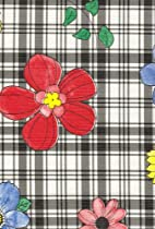 Plaid Flower Flannel Backed Vinyl Tablecloth, Black, 52x70 Oval