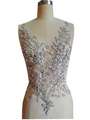 Pure Hand Made Crystals Patches Sew on Rhinestone Applique Knit Trim 50 x 30 cm Dress Accessory ()