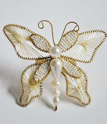 Set of 6 Christmas Butterfly Holiday Napkin Ring White Golden Thread – Napkin holder for Wedding Parties, Christmas , Dining Table Décor – Handmade
