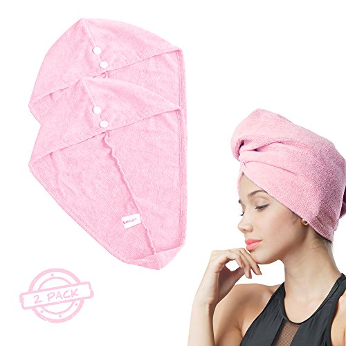 SOFTOWN Microfiber Hair Drying Towel Super Absorbent Head Hat for Women with Long Hair, Pink, 2 Pack, 11 x 28 inch