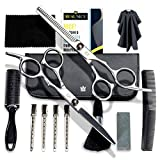 Hair Cutting Scissors Set – 14 Pc Haircut Kit for Men or Women – Sharp Professional Hairdressing Scissors – Durable Thinning Shears and Barber Hair Shears or Scissors Included in Hair Cutting Kit.