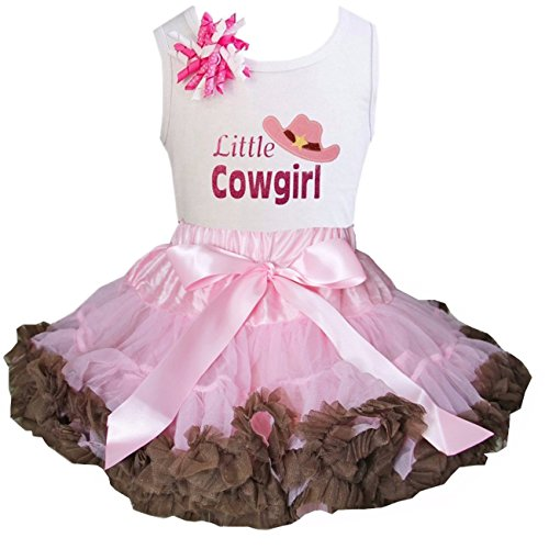 Cowgirl Tutu - Kirei Sui Brown Light Pink Pettiskirt & Little Cowgirl Tee Small White