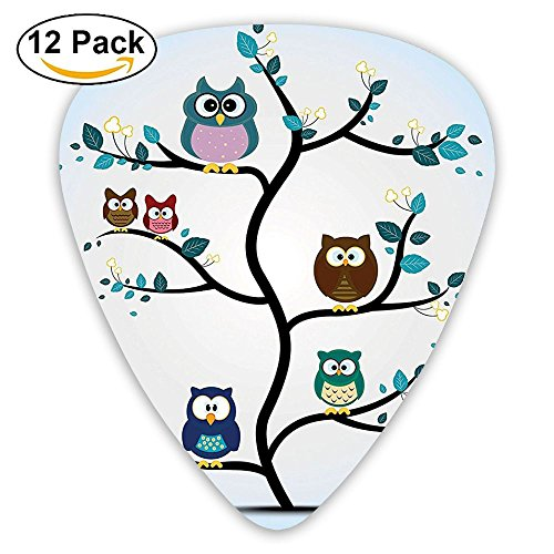 Newfood Ss Owl Family Perched On A Tree Love Grace Nocturnal Eyed Night Animals Guitar Picks 12/Pack Set