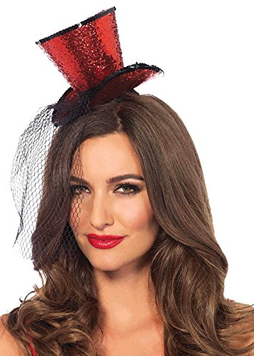 Red Glitter Mini Top Hat (UHC Adult Women's Mini Top Hat Glitter w/ Veil Halloween Costume Accessory (Red))