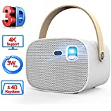 Mini Projector,Portable 3D Video Projector with Wi-Fi and Bluetooth,4k Supported,3000 Lumen with 30,000Hrs LED Life,DLP Home Theater Projector Compatible with HDMI,TF,USB for Moving,Gaming