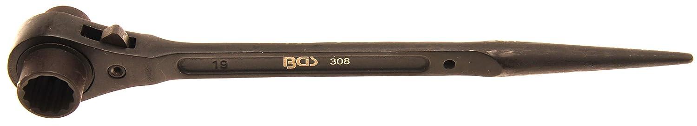 Chrom-Vanadium-Stahl Ger/üstbauer-Knarre Ger/üstbauratsche SW 24 x 30 mm BGS 305 rechts // links umschaltbar