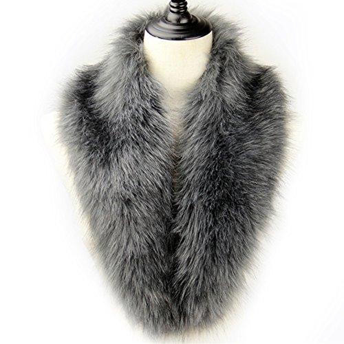 Fur Silver (Dikoaina Extra Large Women's Faux Fur Collar for Winter Coat)